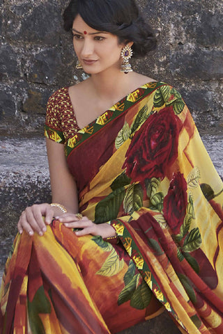 Kabiree:atisundar   fascinating Printed Designer Saree with Border in Firebrick  - 4486 - atisundar - 4