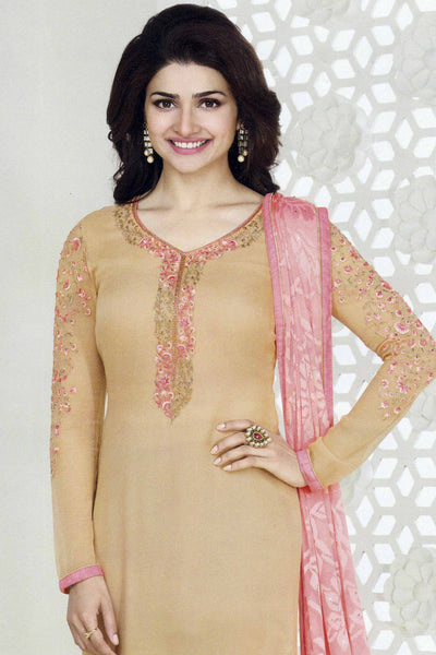 The Prachi Desai Collection:atisundar classy Beige Designer Party Wear Straight Cut Suits In Faux Georgette - 10488 - atisundar - 4 - click to zoom