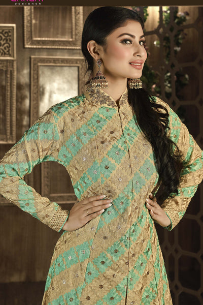 Designer Bollywood Anarkali Featuring Mouni Roy: atisundar exquisite Cream And Green Designer Embroidered Bollywood Anarkali - 11167 - atisundar - 4 - click to zoom