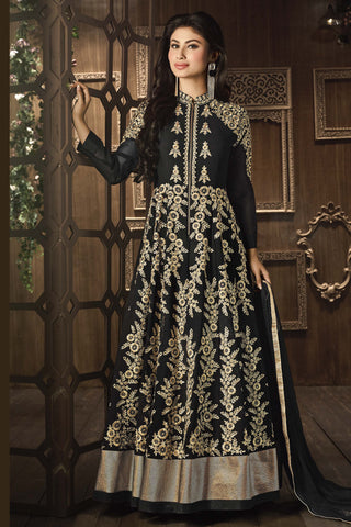 Designer Bollywood Anarkali Featuring Mouni Roy: atisundar fair Black And Cream Designer Embroidered Bollywood Anarkali - 11168 - atisundar - 5 - click to zoom