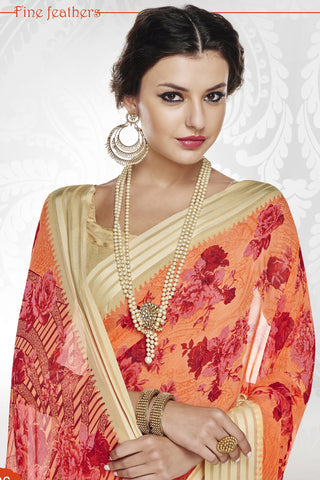 Designer Party wear Saree:atisundar resplendent Designer Printed Saree with Fancy Border in Satin Georgette in Red And Orange And Cream  - 10770 - atisundar - 3