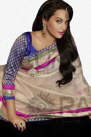 Rajguru Lotus Featuring Sonakshi:atisundar   angelic Bollywood Designer Saree in Cream  - 4540 - atisundar - 4