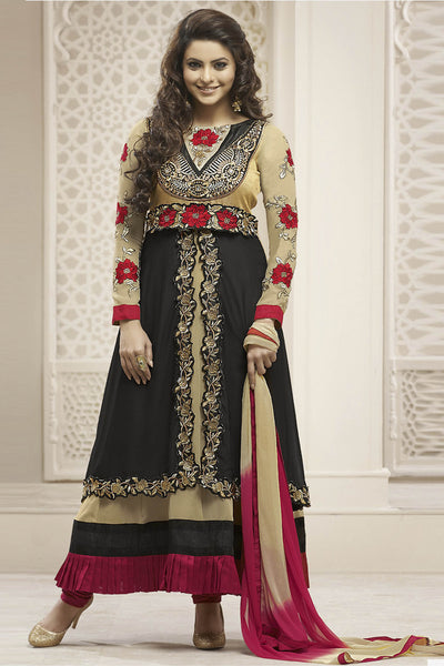 Heeba Party Wear Anarkali Featuring Aamna Sharif:atisundar admirable   in Cream And Black - 5108 - atisundar - 2 - click to zoom
