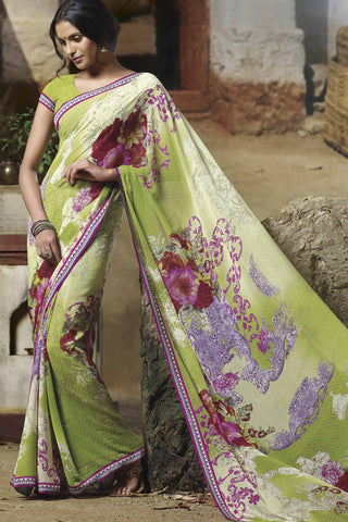Jasmeen: Designer Printed Sarees:atisundar   wonderful Designer Printed Saree in Yellow  - 5139 - atisundar - 1 - click to zoom