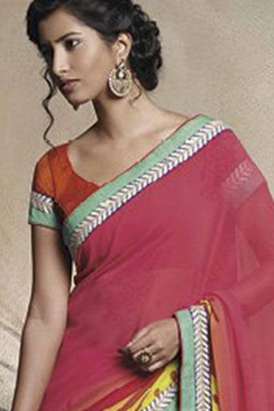 Florence:Lovely Pink Colored Designer Embroidery Saree Saree - 4267 - atisundar - 4 - click to zoom