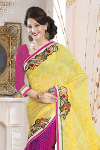 Designer Printed Saree:atisundar Lovely Designer Printed Saree in Yellow And Pink  - 7606 - atisundar - 3