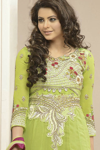 Heeba Party Wear Anarkali Featuring Aamna Sharif:atisundar beauteous   in Parrot Green  - 5106 - atisundar - 5