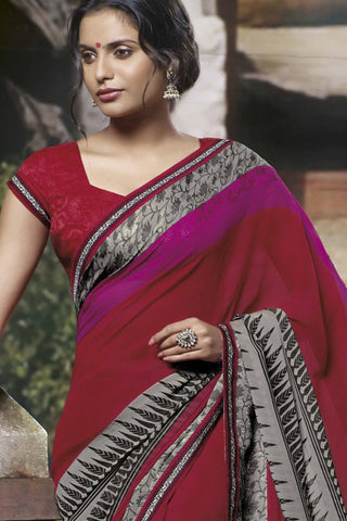Jasmeen: Designer Printed Sarees:atisundar   Great Designer Printed Saree in Red  - 5166 - atisundar - 3