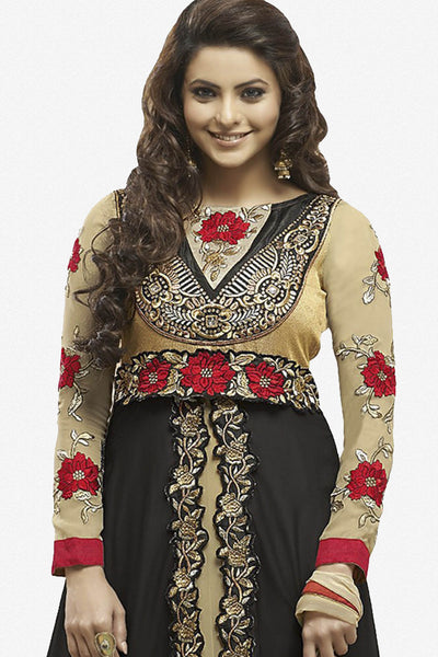 Heeba Party Wear Anarkali Featuring Aamna Sharif:atisundar admirable   in Cream And Black - 5108 - atisundar - 3 - click to zoom