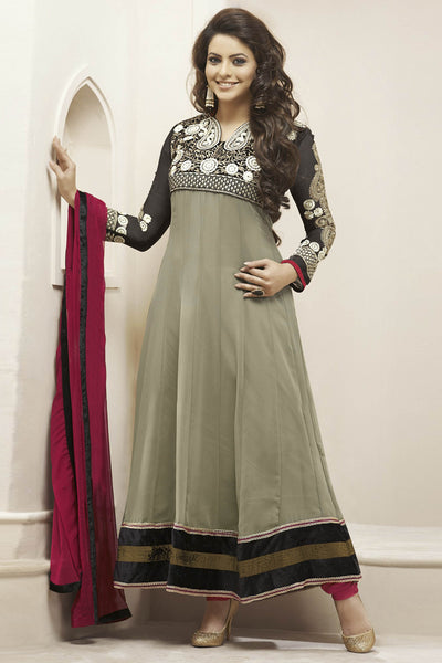 Heeba Party Wear Anarkali Featuring Aamna Sharif:atisundar gorgeous   in Gray - 5105 - click to zoom