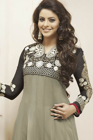 Heeba Party Wear Anarkali Featuring Aamna Sharif:atisundar gorgeous   in Gray - 5105 - atisundar - 4