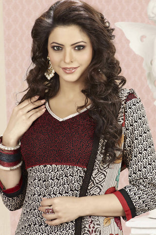 Aamna Shariff Printed Poly Cotton Anarkali:atisundar elegant Black Printed Ready to Stitch Anarkali - 6087 - atisundar - 6