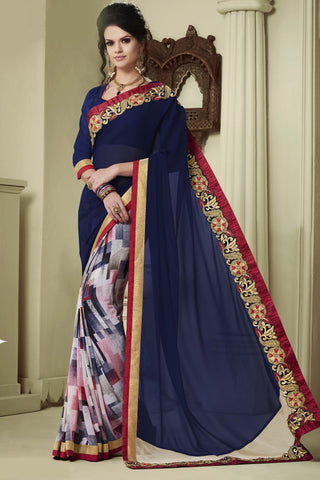 Designer Party wear Saree:atisundar cute Party wear Sarees with designer blouses and embroidered border in Blue And Red  - 10750 - atisundar - 4 - click to zoom