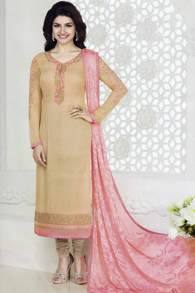 The Prachi Desai Collection:atisundar classy Beige Designer Party Wear Straight Cut Suits In Faux Georgette - 10488 - atisundar - 3 - click to zoom