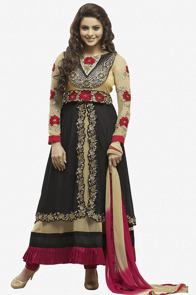 Heeba Party Wear Anarkali Featuring Aamna Sharif:atisundar admirable   in Cream And Black - 5108 - atisundar - 1 - click to zoom