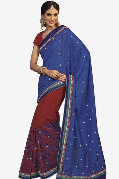 Rajguru Radiance:atisundar   Charismatic Designer Embroidery Saree in Blue  - 4626 - atisundar - 2 - click to zoom