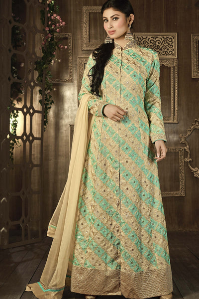 Designer Bollywood Anarkali Featuring Mouni Roy: atisundar exquisite Cream And Green Designer Embroidered Bollywood Anarkali - 11167 - atisundar - 5 - click to zoom