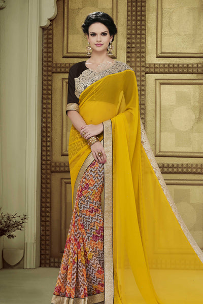 Designer Party wear Saree:atisundar superb Party wear Sarees with designer blouses and embroidered border in Yellow And Cream  - 10755 - atisundar - 4 - click to zoom