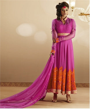 Heeba Party Wear Anarkali Featuring Aamna Sharif:atisundar ravishing   in Pink - 5109 - atisundar - 3 - click to zoom