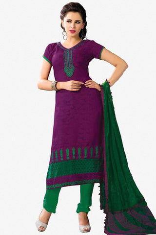 Designer Embroidered Suits In Jacquard:atisundar appealing   in Purple - 5712 - click to zoom