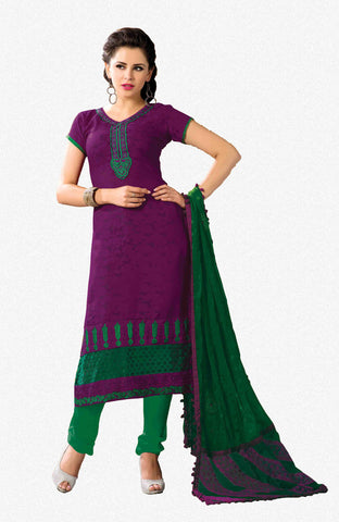 Designer Embroidered Suits In Jacquard:atisundar appealing   in Purple - 5712 - atisundar - 2 - click to zoom