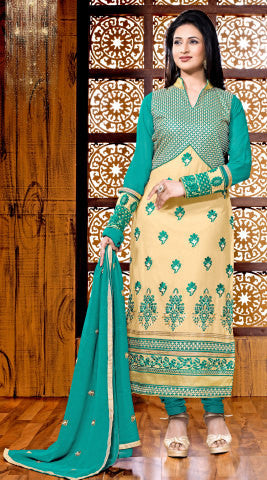 Designer Embroidered Straight Cut Suit Featuring Divyanka Tripathi:atisundar Attractive Green And Cream Designer Ready to Stitch Straight Cut Suit - 6400 - atisundar - 1 - click to zoom