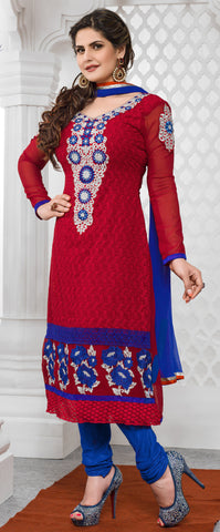 The Zareen Khan Collection:atisundar pretty Red Designer Straight Cut  - 6729 - atisundar - 2 - click to zoom