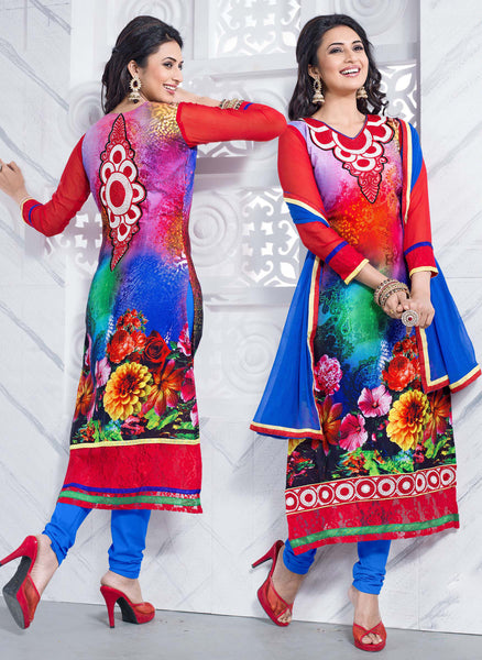 Straight Cut with Embroidery and Digital Print:atisundar charming Multi Straight Cut with Embroidery and Digital Print - 6294 - atisundar - 2 - click to zoom