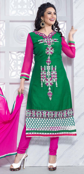 Straight Cut with Embroidery and Digital Print:atisundar comely Green And Multi Straight Cut with Embroidery and Digital Print - 6297 - atisundar - 2 - click to zoom