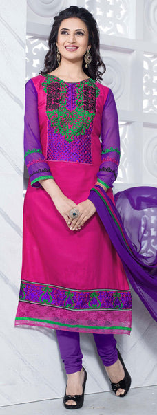 Straight Cut with Embroidery and Digital Print:atisundar pretty Pink And Purple Straight Cut with Embroidery and Digital Print - 6298 - atisundar - 2 - click to zoom