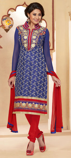 Designer Straighr Cut Suit:atisundar Beautiful Blue Designer Straight Cut  - 6682 - atisundar - 3 - click to zoom