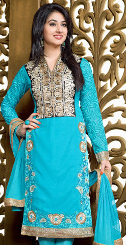 Designer Embroidered Party Wear Straight Cut Featuring Disha Parmar:atisundar graceful Sky Designer Embroidered Partywear Suits in Straight Cut - 6366 - atisundar - 1 - click to zoom