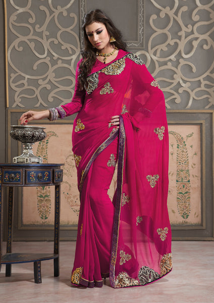Excellent Chiffon Saree In Red - atisundar - 3 - click to zoom