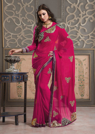 Excellent Chiffon Saree In Red - atisundar - 1 - click to zoom