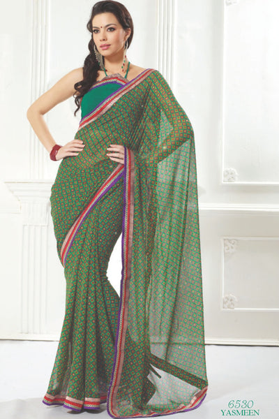 atisundar Mandira: Beautiful Green Chiffon Saree - atisundar - 2 - click to zoom