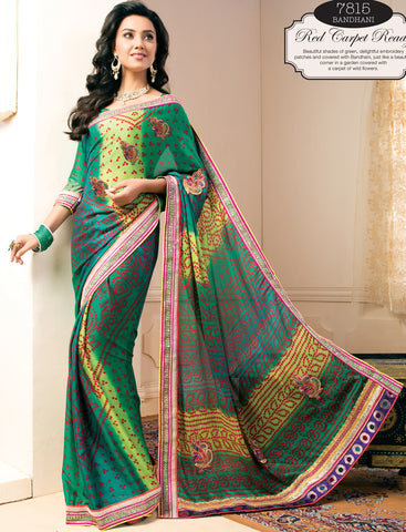 Great Crepe Saree In Green - 4049 - atisundar - 2