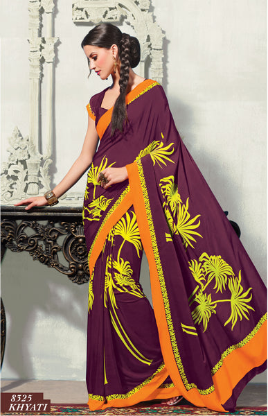 Superb Crepe Saree In Purple - 3475 - click to zoom