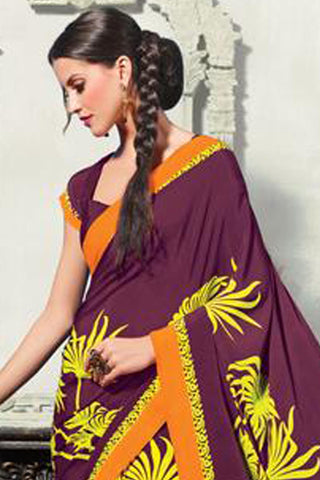 Superb Crepe Saree In Purple - 3475