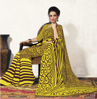 Beautiful Yellow Colored Print Saree - 3487 - atisundar - 2 - click to zoom