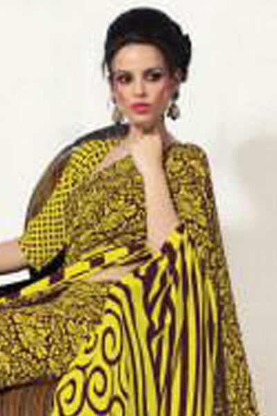 Beautiful Yellow Colored Print Saree - 3487 - click to zoom