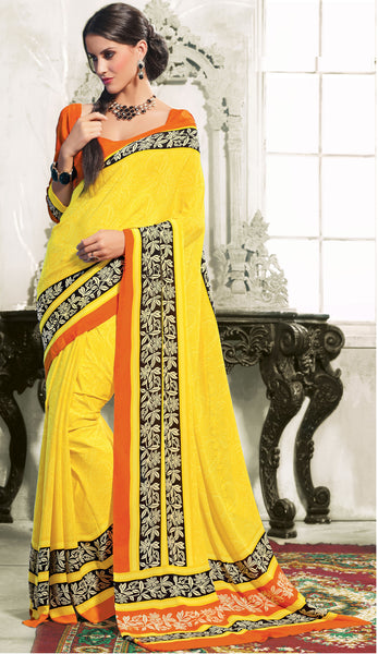 atisundar Devak: Beautiful Yellow Colored Saree In Crepe - 3482 - atisundar - 3 - click to zoom