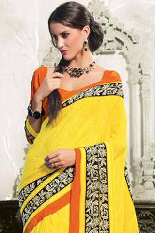 atisundar Devak: Beautiful Yellow Colored Saree In Crepe - 3482