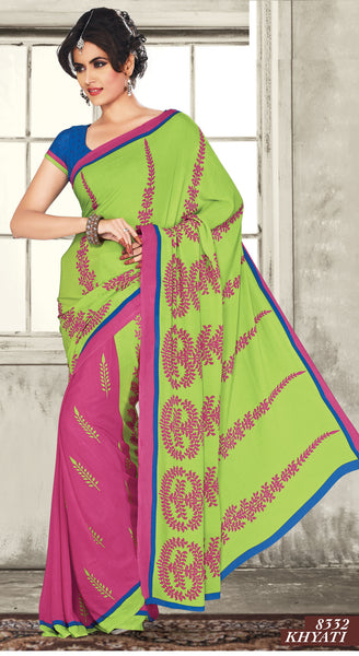 atisundar Mananya: Charismatic Pink Colored Saree In Crepe - 3472 - atisundar - 4 - click to zoom