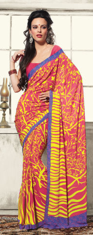 Excellent Pink Colored Print Saree - 3492 - atisundar - 2 - click to zoom
