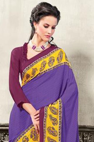 Attractive Crepe Saree In Purple - 3493