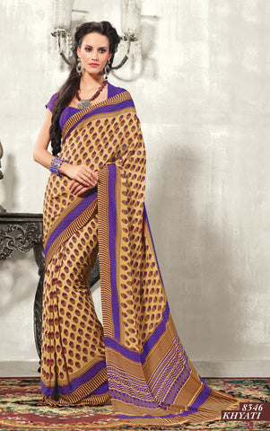 atisundar Chayana: Comely Brown Colored Saree In Crepe - 3495 - atisundar - 3