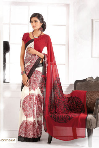 atisundar Gunjita: Comely Red Colored Saree In Faux Georgette - 3286 - atisundar - 1 - click to zoom