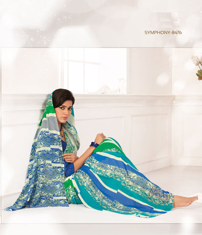 Beauteous Faux Georgette Saree In Blue - 3260 - atisundar - 3 - click to zoom