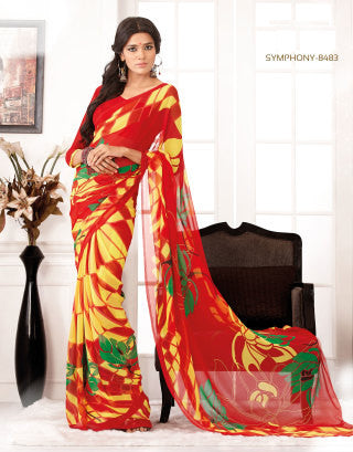Comely Faux Georgette Saree In Red - 3264 - atisundar - 1 - click to zoom