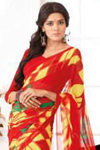 Comely Faux Georgette Saree In Red - 3264